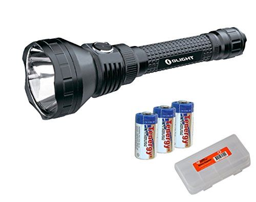 Bundle: Olight M3XS-UT Javelot CREE XP-L Lumen LED Flashlight, 3x Tenergy Batteries, and 1x LumenTac Battery Case 1200 CR123A