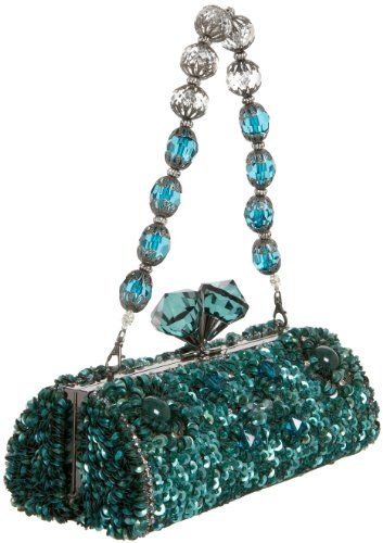 Mary Frances Accessories Teal Time Evening Bag