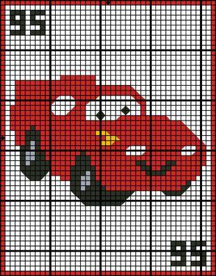 Cars - Lightning McQueen Granny Square Crochet Pattern. FREE GRAPH 10/14.