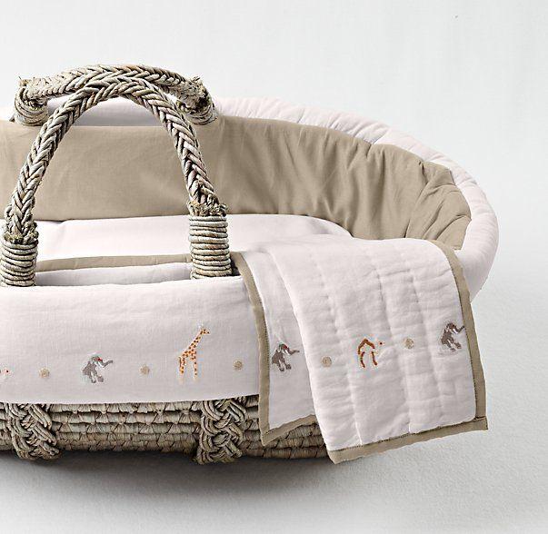 embroidered safari moses basket bedding