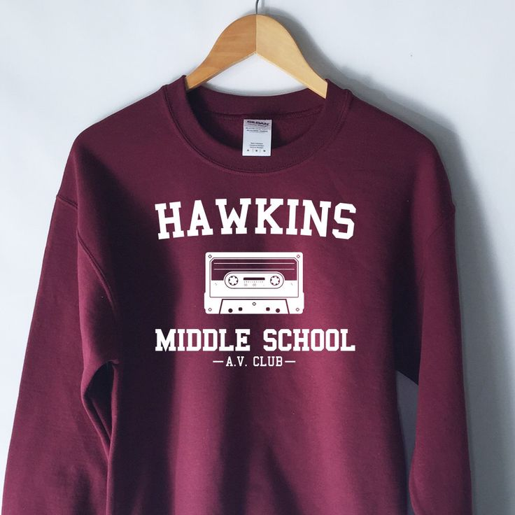 Hawkins Middle School AV Club Sweatshirt - Stranger Things Shirt - Stranger Things Tee - Jumper - Eleven Hopper by WildHeartsUSA on Etsy https://www.etsy.com/listing/465187912/hawkins-middle-school-av-club-sweatshirt