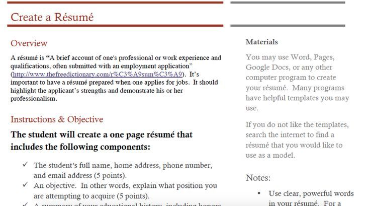 Create A Resume Assignment Assignment Create Resume 2020