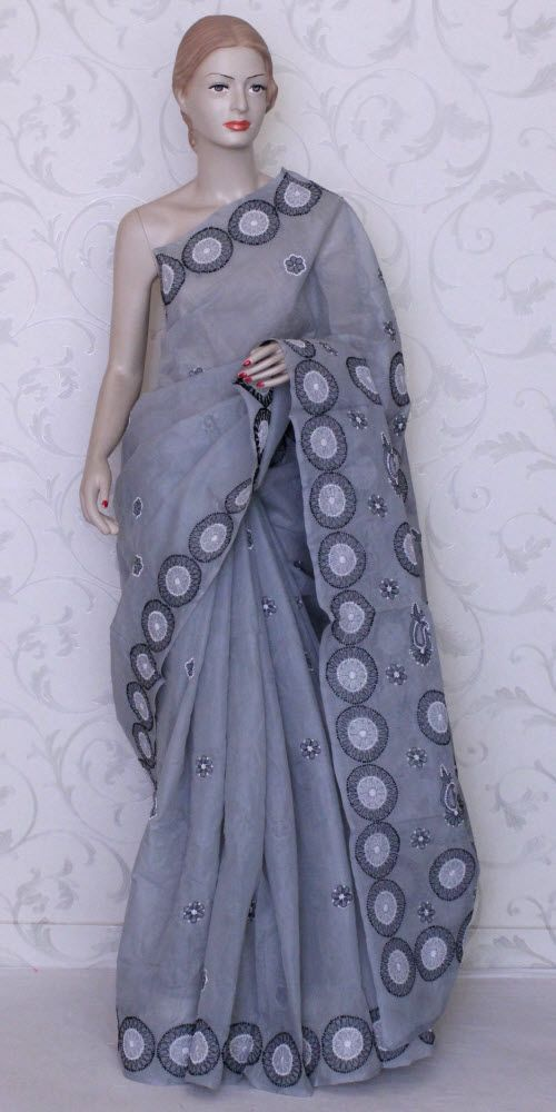 Lucknowi Chikan Saree (W/B-Cotton) 12329