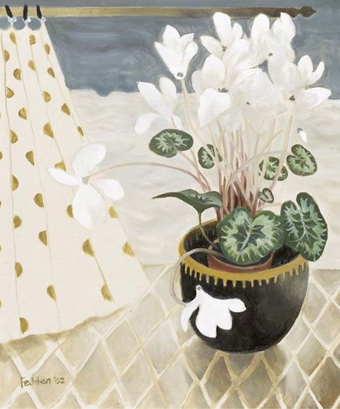 Mary Fedden - White Cylamen (495×595) Fedden is one of those painters with an instantly recognisable style. There's sometimes just an nice edge of the surreal as well as the charming decorative elements.