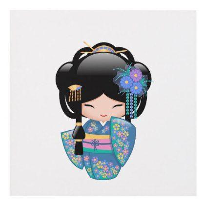 #girly - #Keiko Kokeshi Doll - Blue Kimono Geisha Girl Panel Wall Art