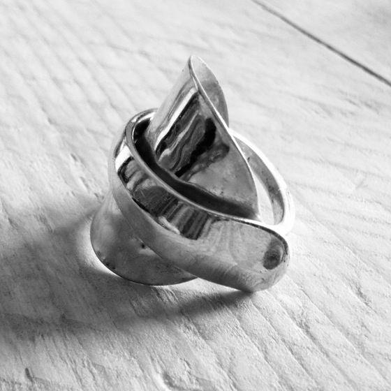 Handmade Cutlery Jewellery - Solid Silver Teaspoon Wraparound Ring #cutleryjewellery #silverjewellery #bristoluk #ethicaljewellery #handmadejewellery #recycled #solidsilver #bigcartel #vintage #ethics #uniquegifts #cutleryjewellery #handmade #teaspoon #bristoluk #solidsilverjewellery #drumandfifejewellery #nowaste #recycled #givenasecondlife #handmade #ring #necklace #bigcartel #lukh #ethical #win #ethicalfashion #recycleweek #unusualgift #outsidethebox #handmadejewellery #history
