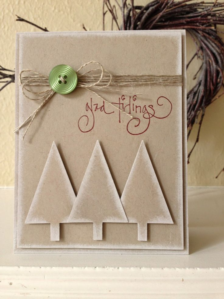 Stampin' Up! ... handmade Christmas card by penguinstamper ... kraft card with white sponged edges that make it look like it has a dusting of frost ... triple punched triangle trees ...  like the multiple strand wrap and bow of twine ... luv it!