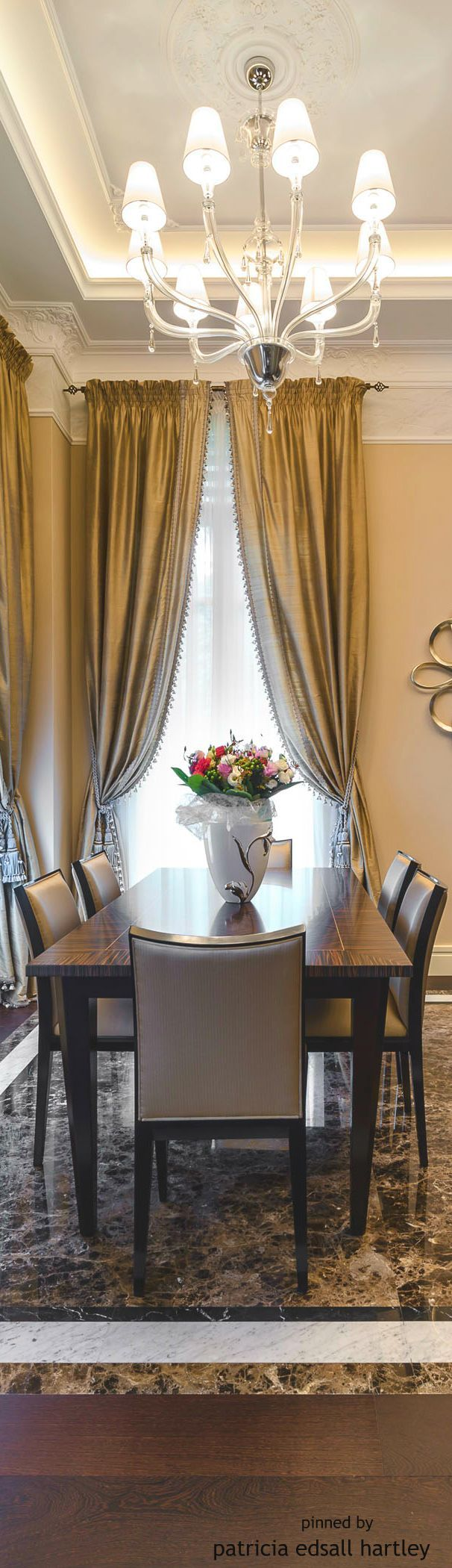 Bay Windows Soft Furnishings Blinds Drapery Shutters Window Treatments  Interior Decorating Mansions Dining Rooms