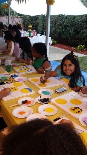 Emoji party paint canvas