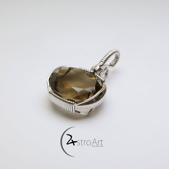 Smoky Quartz with rhodium plated sterling silver by AstroArtDesign