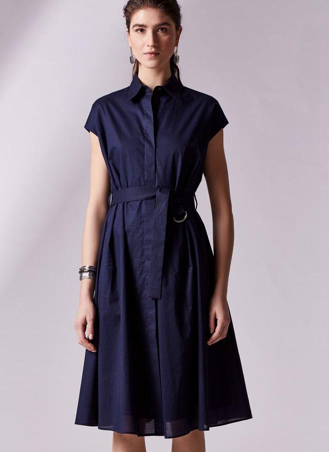 5746b32f7e Vestido camisero con cinturón Azul Marino Para ella frontal