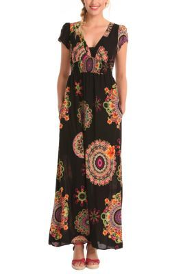 Andez summer dress. A long dress with a super psychedelic pattern for women who don't shy away from anything. This sleeveless, V-neck dress will look very seductive on you. Try it out!