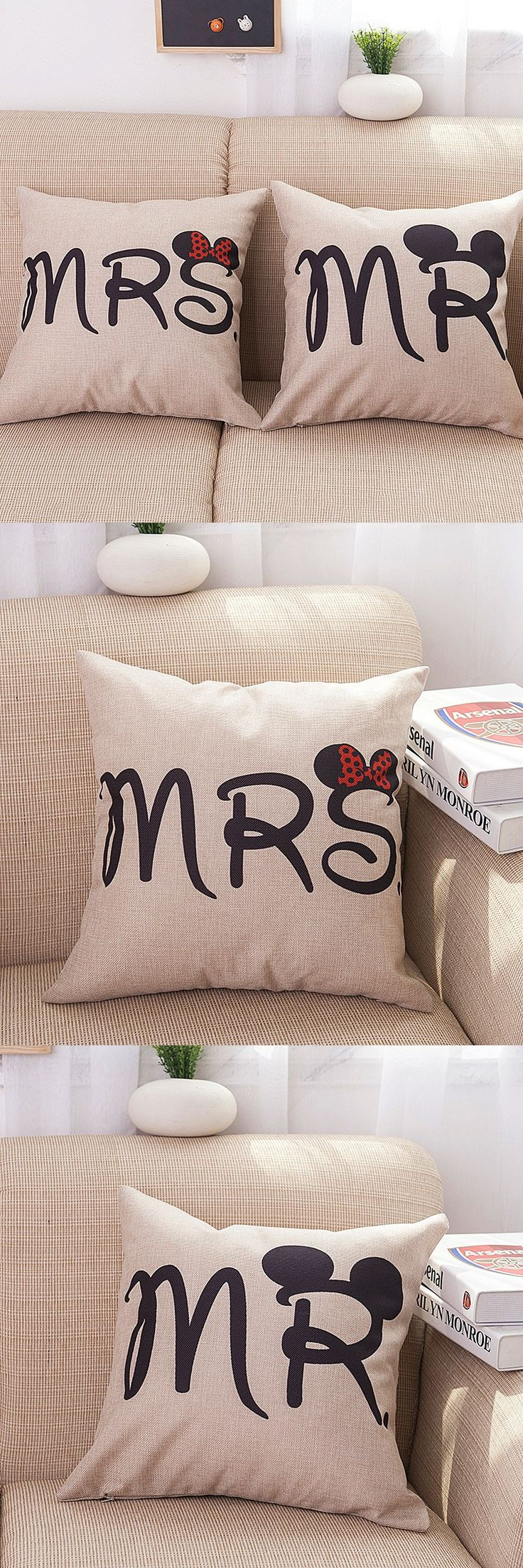 MRS and MR Cotton Linen  Body Pillow Cover Anime Pillowcase Lovers Hugging Pillow Cases Soft Cozy Home Decorative  SD8 $4.9