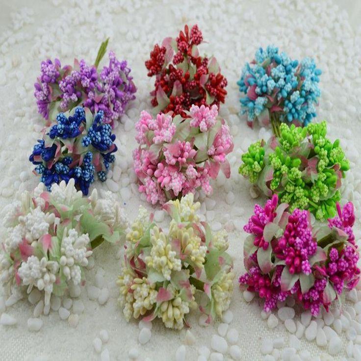 10 unids/lote flores artificiales estambre morera/pistilos boda suministros granos de la flor diy hecho a mano de scrapbooking decoración