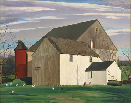'Bucks County Barn,' 1932; Charles Sheeler, American, 1883-1965; oil on gesso on composition board; Museum of Modern Art, New York.
