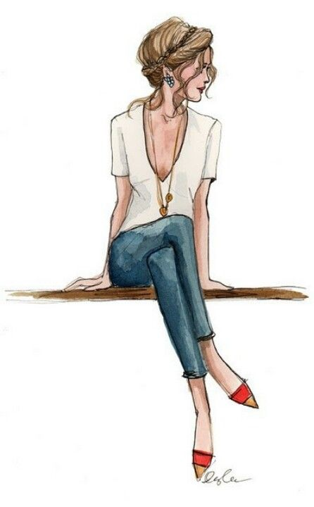 Fashion illustrations, white shirt, blue jeans, red shoes