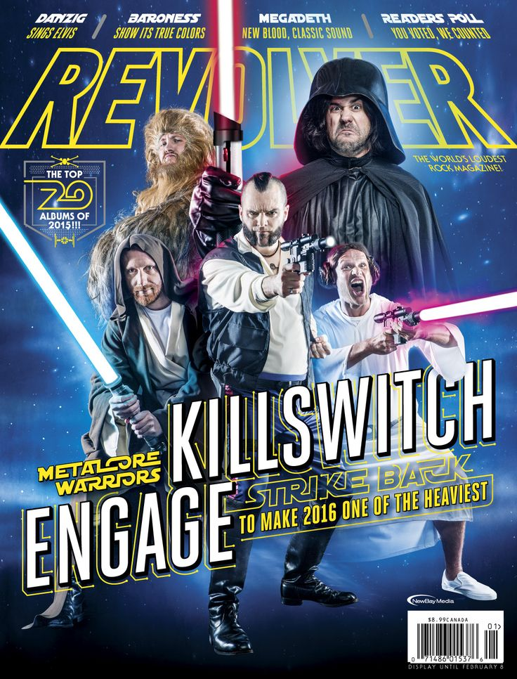 Killswitch Engage posing as Star Wars characters on the cover of Revolver Magazine