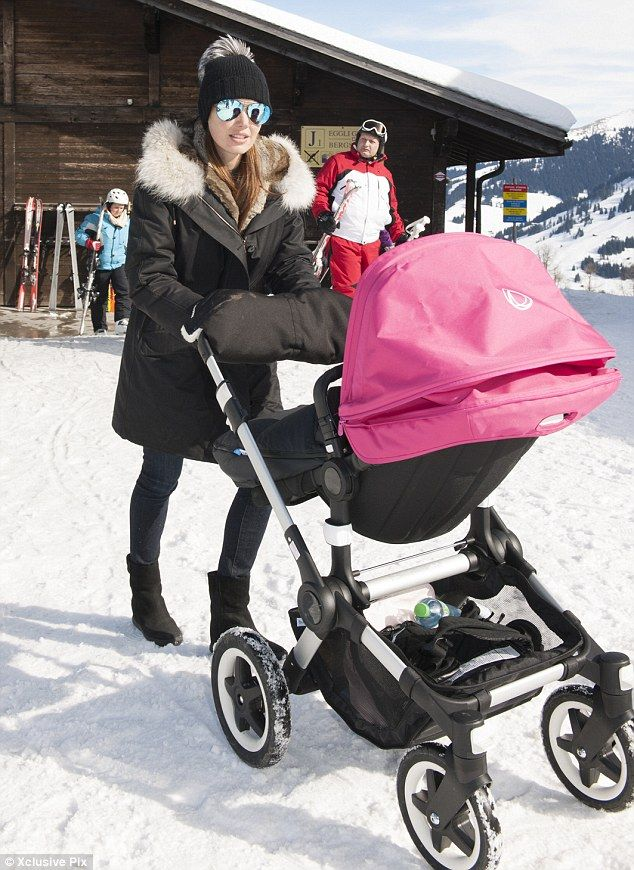 Yummy mummy: Tamara Ecclestone looked fashion forward as she took to the slopes in Gstaad,...