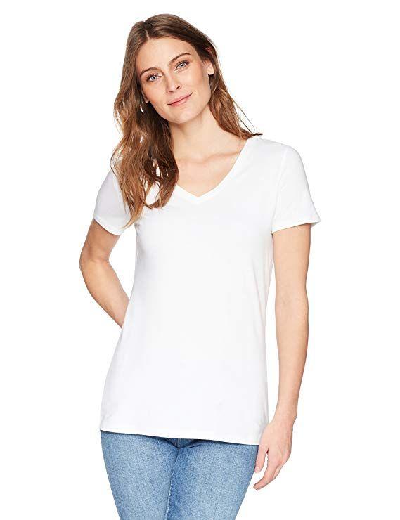 e9968df87c64 Amazon.com: Amazon Essentials Women's 2-Pack Short-Sleeve V-Neck Solid T- Shirt: Clothing