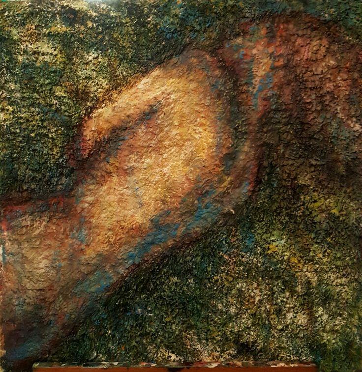 Varjossa 80x80. Acrylic on  carpet. #Artokarttunen #carpetpainting