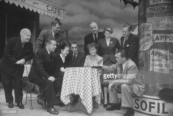 Joe E. Brown, Helen Hayes, Robert E. Sherwood, Jeanette MacDonald, Ed Sullivan, Oscar Hammerstein II, Alfred Lunt and others in rehearsal during Sullivan's 1951-52 season.