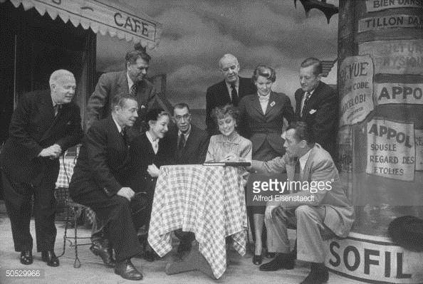 Joe E. Brown, Helen Hayes, Robert E. Sherwood, Jeanette MacDonald, Ed Sullivan, Oscar Hammerstein II,  Alfred Lunt and others in rehearsal during Sullivan's 1951-52 season.