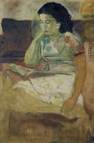 S. Sudjojono - Rose Sedang Membaca