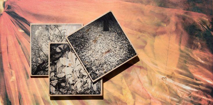 """#Photocellule #legni #wood #Turcato #fotografia  #FOTOblister #Arte  """"Le foglie"""" – Stampa digitale diretta su foglio di compensato di pioppo. Composizione per sovrapposizione di tre soggetti stampati su lamellare di abete – cm40x80 – trattamento conservativo anti UV – 2017 – ©W. Turcato"""
