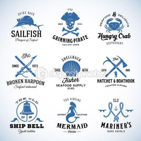 Набор векторных старинных морских и морской этикетки, знаки или логотип шаблоны, которые могут быть разделены на отдельные элементы дизайна. Также отлично подходит для плакатов, флаеров, меню ресторана и т.д. С ретро — стоковая иллюстрация #83830942
