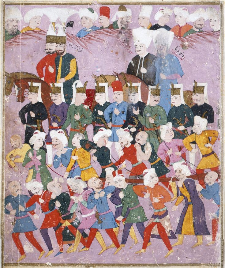 Sultan Osman II (reigned 1618-1622) with His Vizier Davud Pasha in a Procession of Janissaries and Guards Turkey, circa 1620-22
