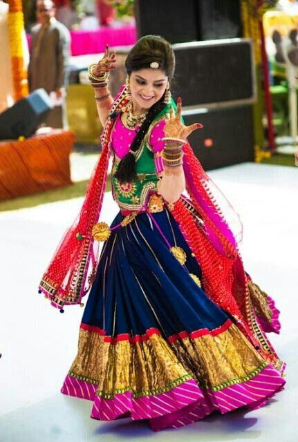 Colorful outfit for a traditional Gujarati garba