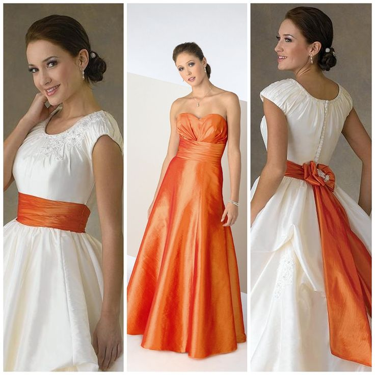 Orange ribbon on my wedding dress????? Most likely!!! Orange for the bridesmaids....don't think so.....
