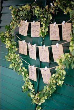 Sitzplan aus Hopfen - Rustikale DIY Hochzeit von candid moments | Hochzeitsblog - The Little Wedding Corner