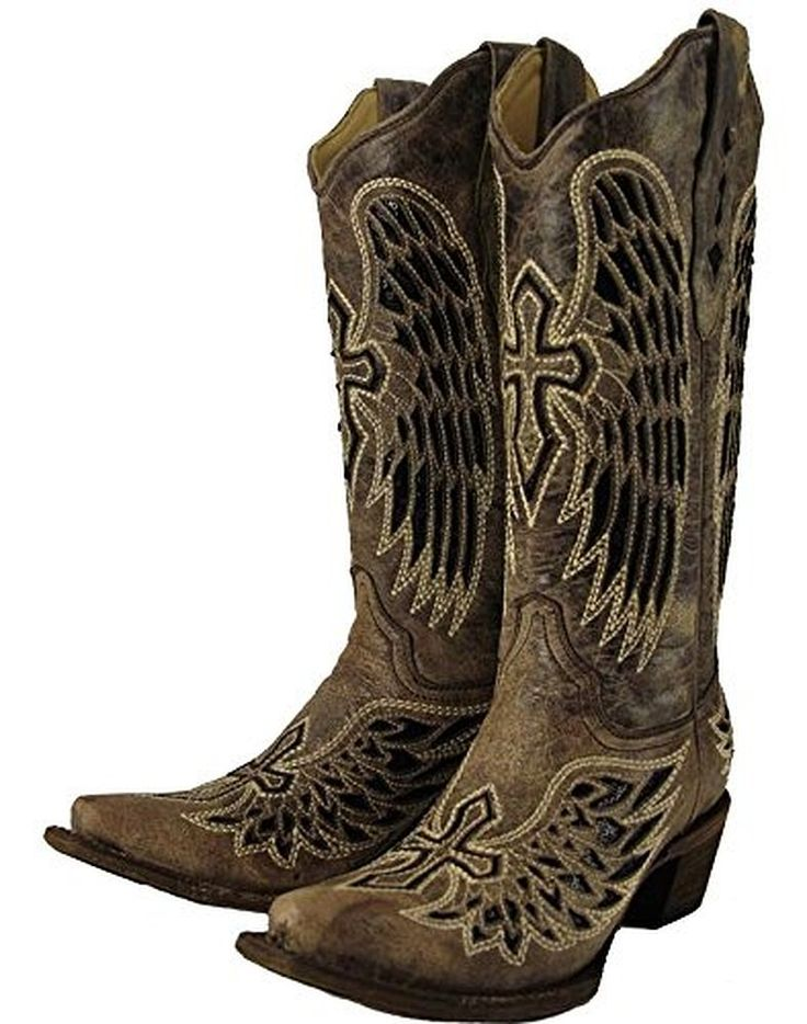 Corral Women's Distressed Sequin Cross And Wing Inlay Cowgirl Boot Snip Toe