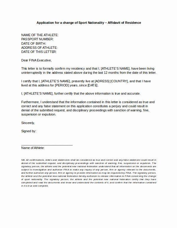 Free Rent Increase Form Fresh 9 Affidavit Of Residence Form