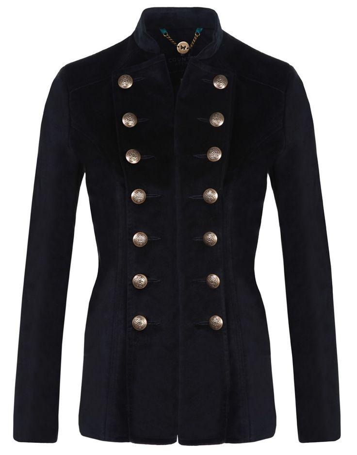 Country Attire Ladies' Short Velvet Pirate Jacket - Black
