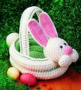 341 best easter crochet knitting images on pinterest knit crochet bunny easter basket double layer so not so flimsy with special thanks to a free pattern by county woman negle Gallery