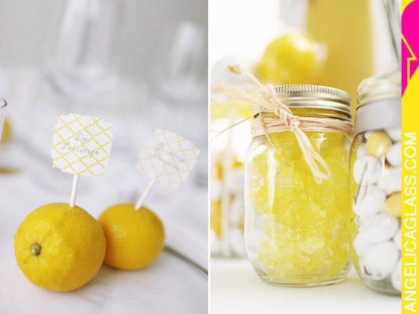 candy jar favors, lemon place cards