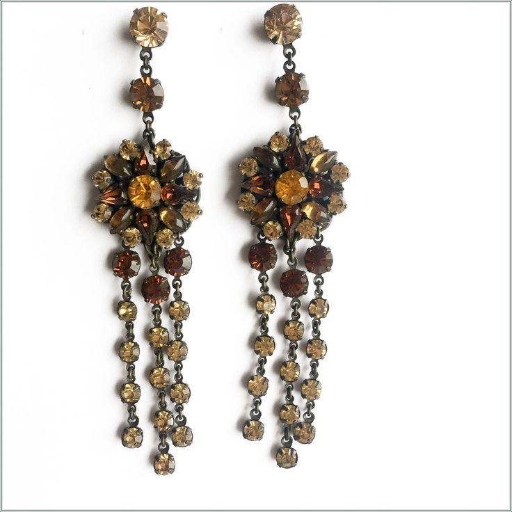 Incredible Vintage Brown Crystal Drop Earrings