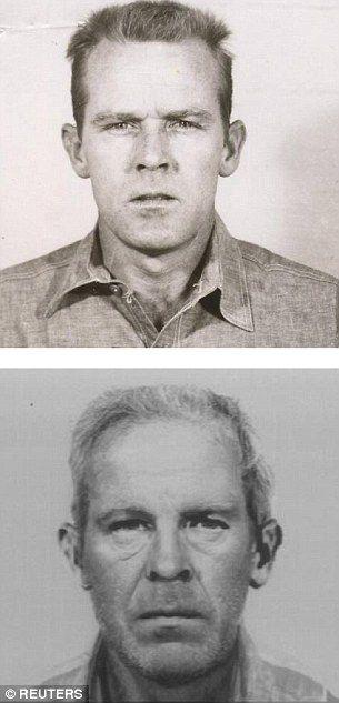 John Anglin (top at Alcatraz and bottom as an older man)...