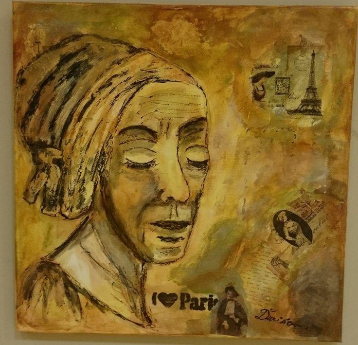 Koláž, akryl na plátne