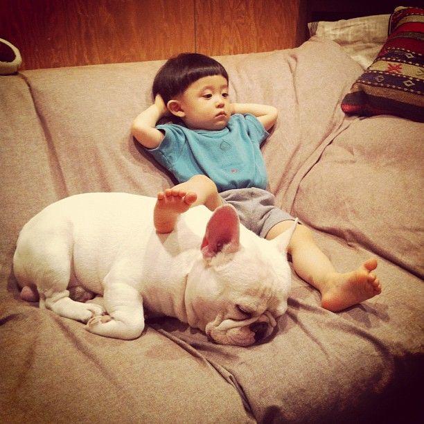 Japanese Boy and His (Best Friend) Bulldog