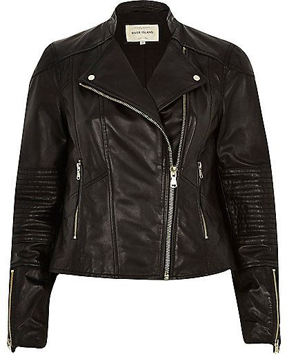 $200, River Island Black Leather Zip Detail Biker Jacket. Sold by River Island. Click for more info: https://lookastic.com/women/shop_items/257809/redirect