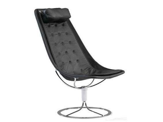 Jetson 66 lenestol sort vev, lang pute, svart lær fra Room21. Om denne nettbutikken: http://nettbutikknytt.no/room21/