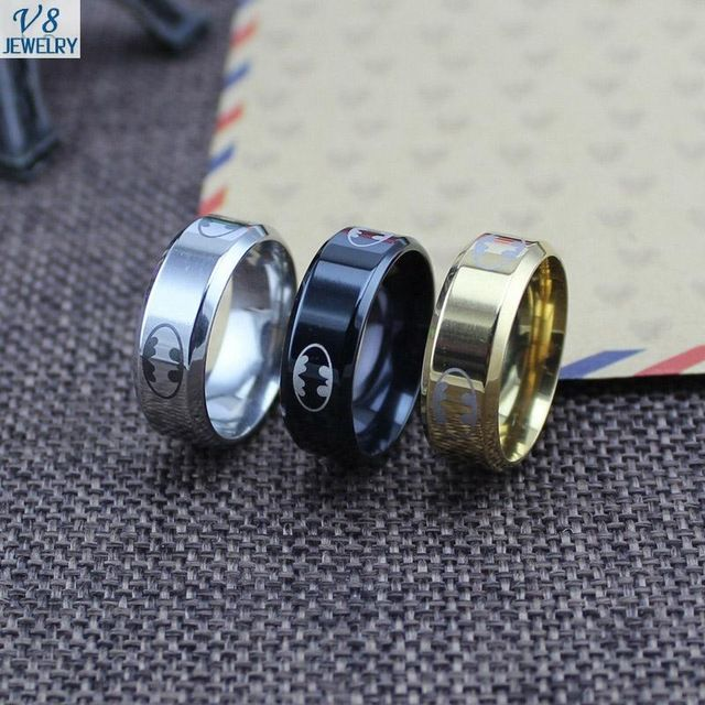 【 $1.30 & Free Shipping / Coupons 】V8 Polish Stainless Steel Batman Ring for Men Jewelry Accessories Superhero Series | worth buying on AliExpress