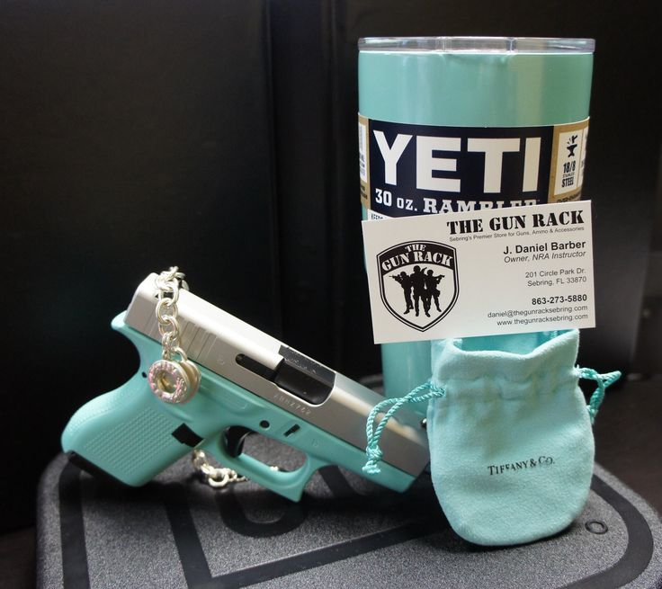 """Now taking orders! Get your custom Glock G42 in """"Tiffany Blue"""", along with a Tiffany & Co. bracelet, and custom Yeti 30 oz. rambler. You'll be the talk of the range, for sure! Call or email for more info."""