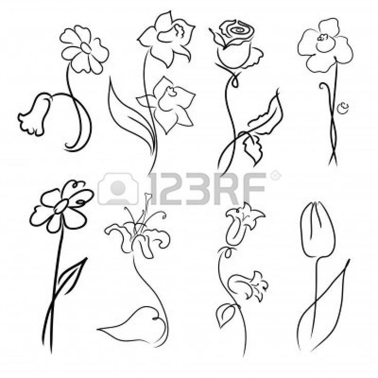 Vector illustratie van bloemen, ontwerp Set gemaakt met eenvoudige lijn alleen Stockfoto