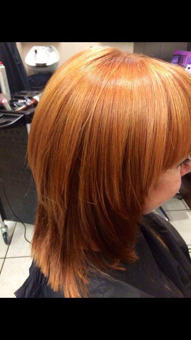 Goldwell copper hair colour with highlights