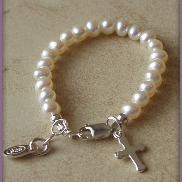 "Got this for my baby niece and soon-to-be Goddaughter. ""Baby Blessings"" Pearl Christening Bracelet w/Cross"