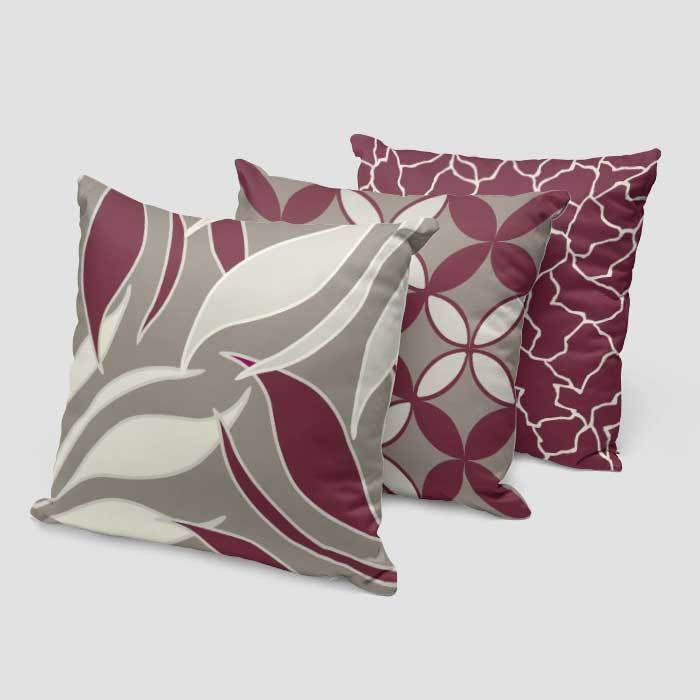 Burgundy Wine Beige Gray Decorative Pillow Covers Geometric Floral Throw Pillow Case Burgundy Decorative Pillows Grey Decorative Pillow Decorative Pillow Covers